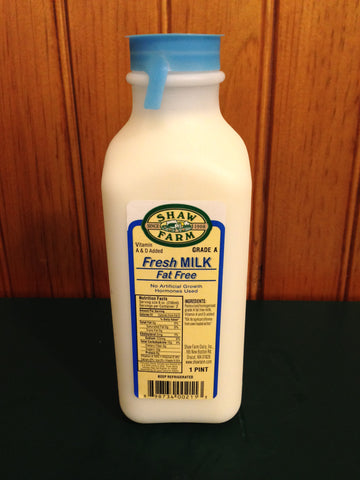 Shaw Farm - Fat Free Milk, pint plastic container