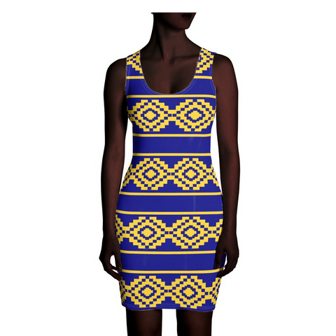 Blue and Yellow Kente Dress