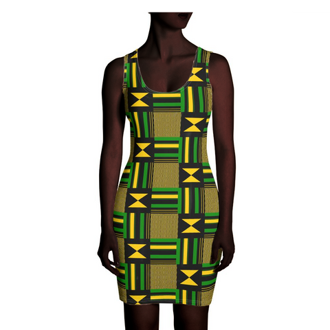 Green, Yellow, and Black Kente Dress