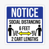 Notice Social Distancing, Shopping Carts Sign