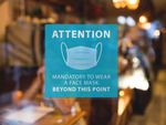 Attention Mandatory Face Mask Blue Sign
