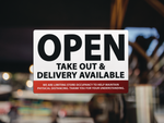 Open, Take Out & Delivery Available: Red - Sign