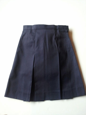 Navy Elementary Kick Pleat Adjustable Waist Skirt
