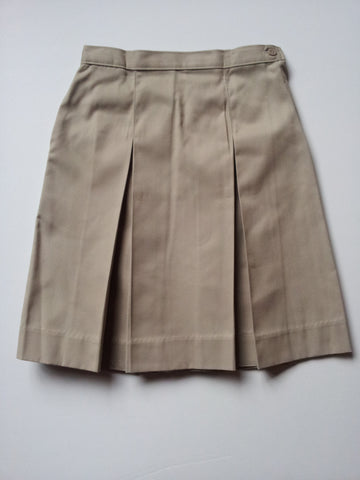 Khaki Elementary Kick Pleat Adjustable Waist Skirt