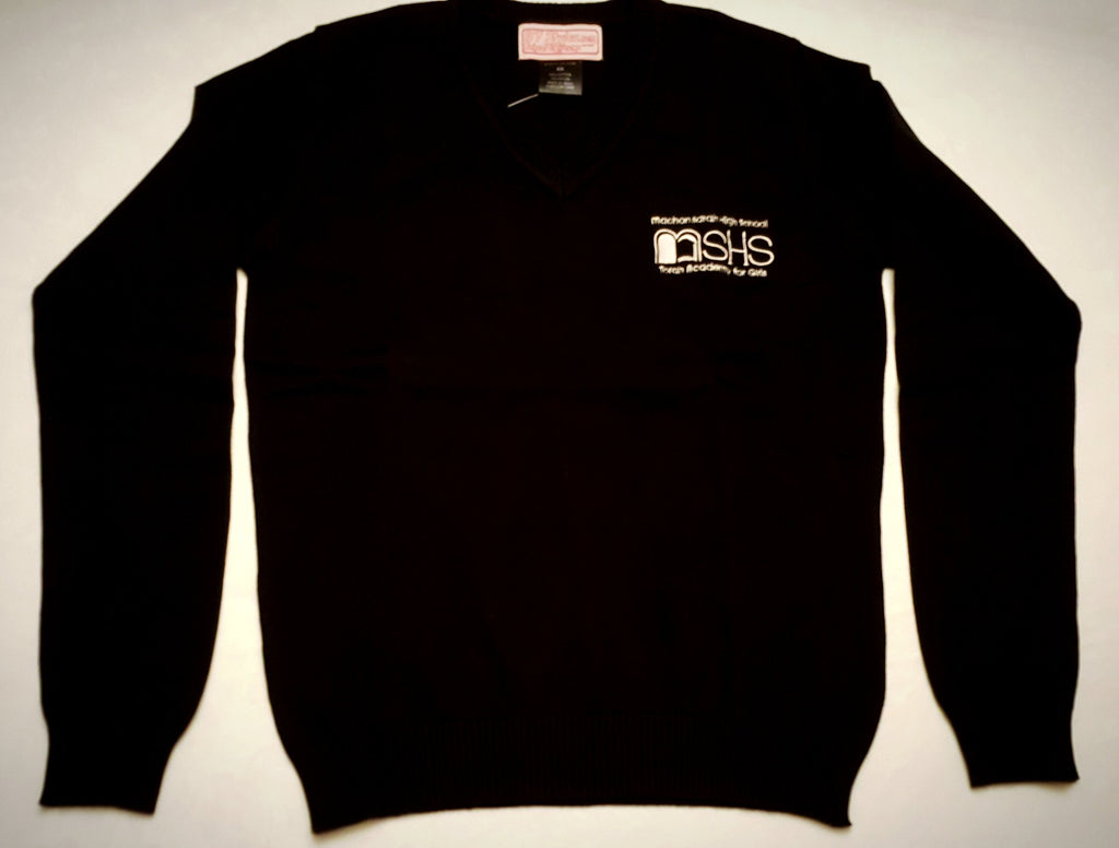 Black Knit V-neck sweater with MSHS logo