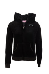 Girls Elementary school uniforms Black Sweatshirt Velour Hooded With BYQ Logo