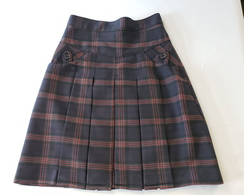 BYA Girls Yoke Box Pleated Skirt Plaid #180