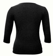 Women's Shell, Black-3/4 Sleeve