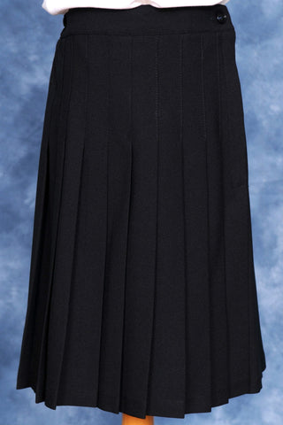 Elementary Long Black Knife Pleated Skirt Polywool