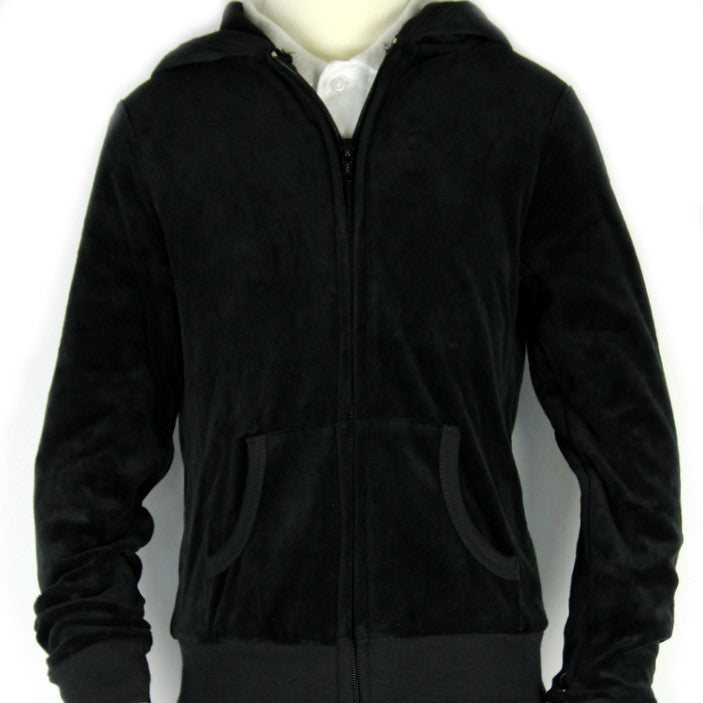 T.A.G. Junior High Youth Sizes Black Sweatshirt Velour Hooded With T.A.G. Logo