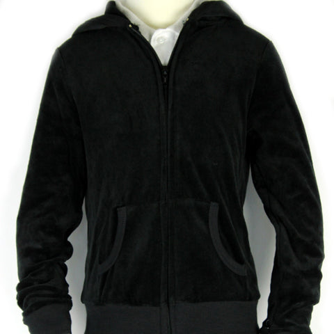 Velour Hooded Sweatshirt Black