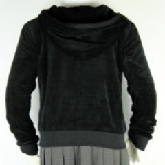 Velour Hooded Sweatshirt Black Ladies Sizes With T.A.G. Logo