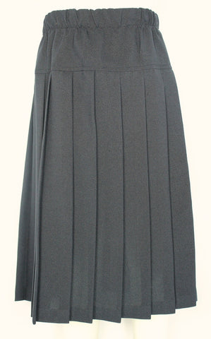 Elementary Solid Navy Yoke Pleated Skirt