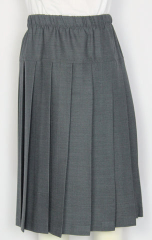 Kids Elementary Yoke Pleated Skirt Solid Gray Poly Wool