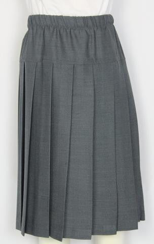 Elementary Solid Gray Yoke Pleated Skirt