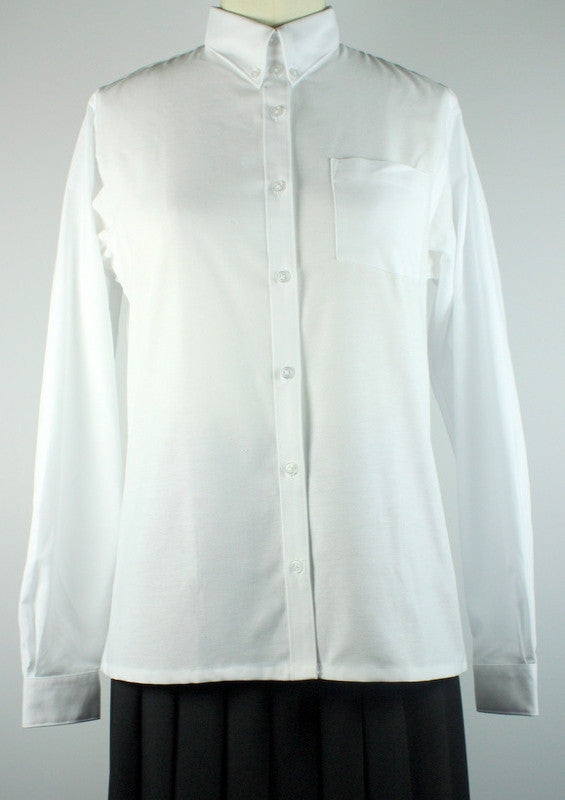 H.S. White Oxford Blouse- Big Girls Straight Hem