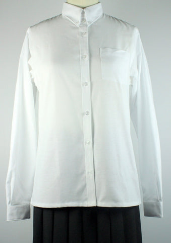 Adult White Husky Oxford Blouse Straight Hem