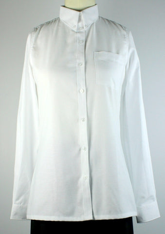 H.S. White Oxford Blouse-Straight Hem