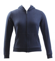 Ladies Navy Cotton Hooded Sweatshirt
