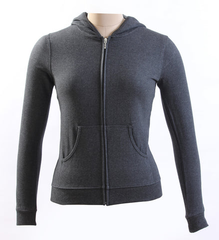 Ladies Charcoal Gray Cotton Hooded Sweatshirt