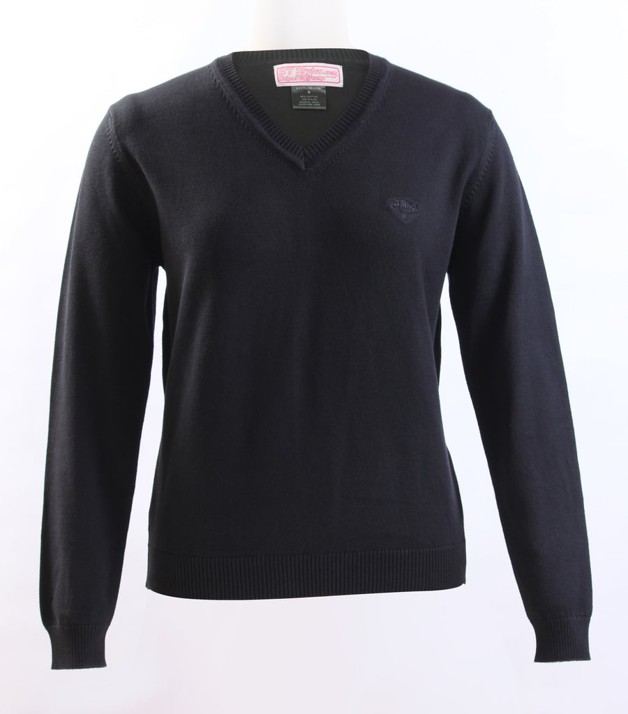 Sweater V-neck Knit Black With TMM logo