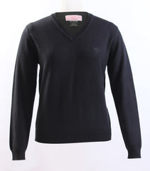 Ladies Black Knit V-neck sweater With No logo