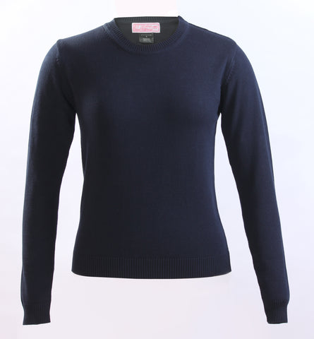 Ladies Navy Knit Crew neck sweater