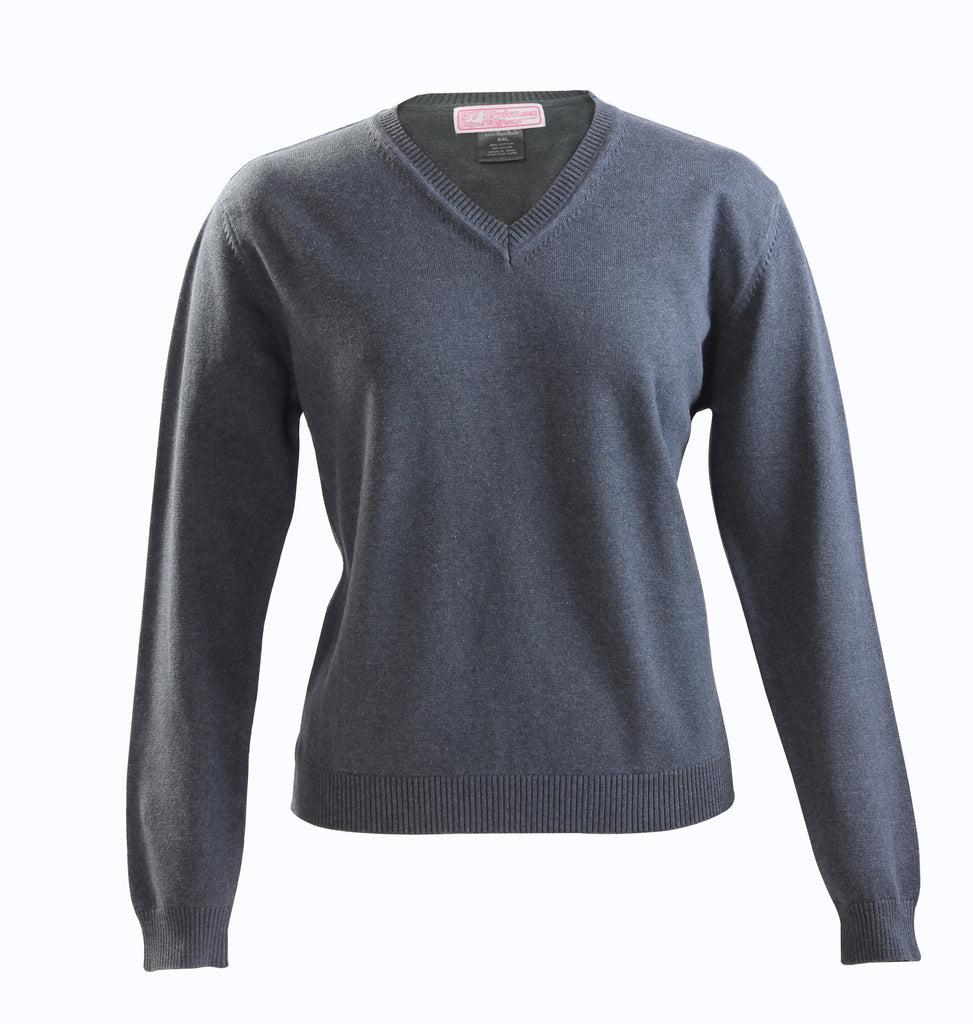 Ladies Charcoal Gray Knit V-neck sweater