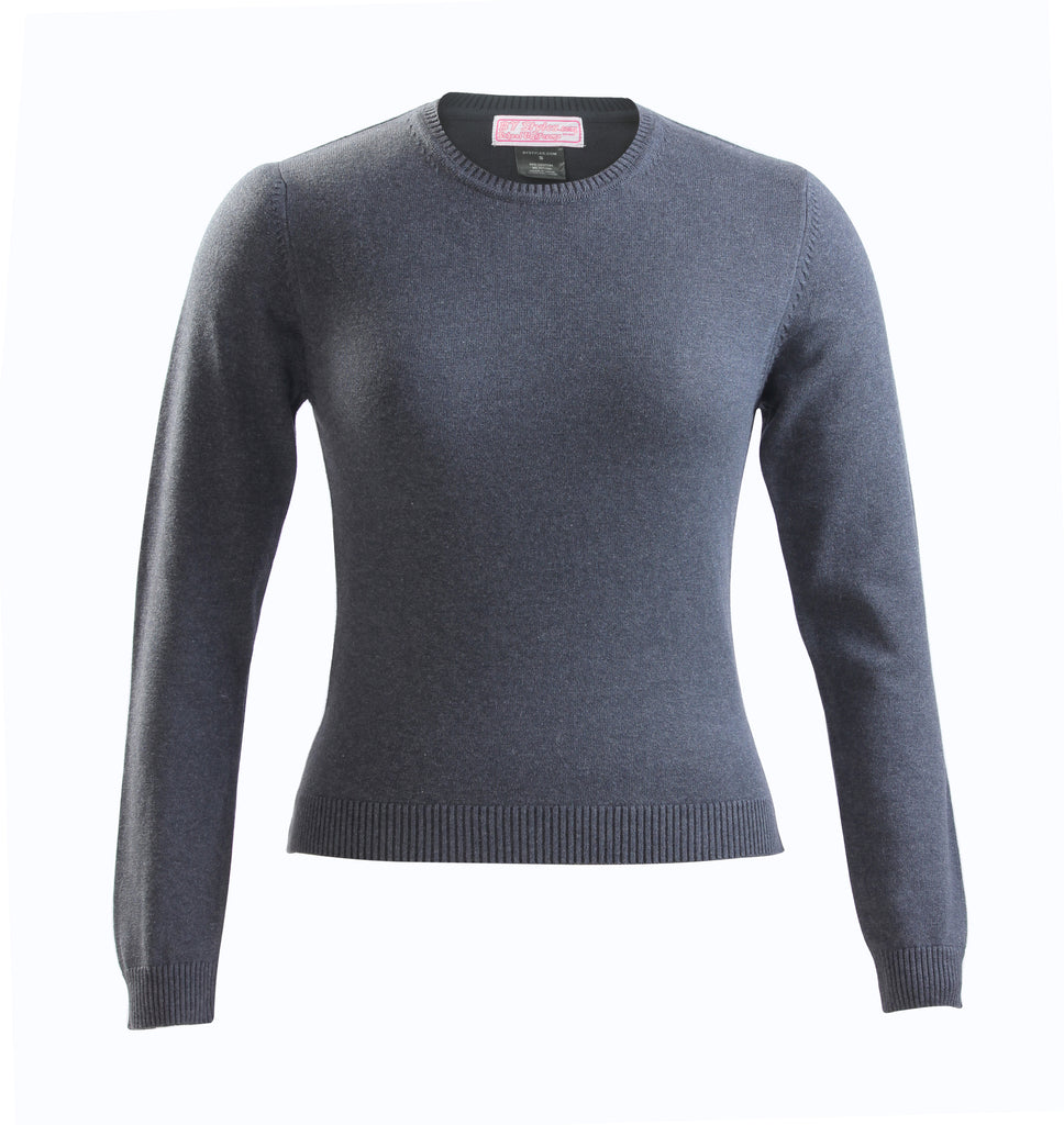Ladies Charcoal Gray Knit Crew neck sweater