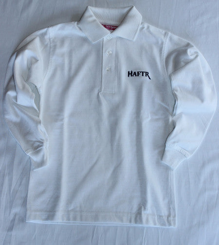 Haftr White Pique Polo Shirts Long Sleeve