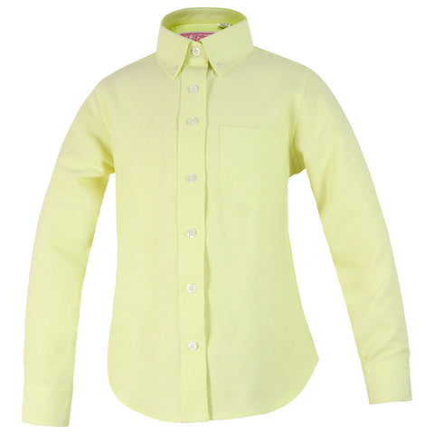 Girls Yellow Oxford Blouse-Round Hem