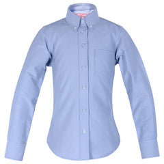 H.S. Blue Oxford Blouse-Round Hem