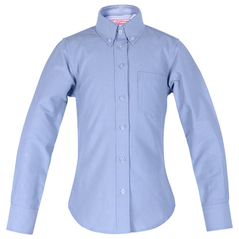 Girl Blue Oxford Blouse-Round Hem