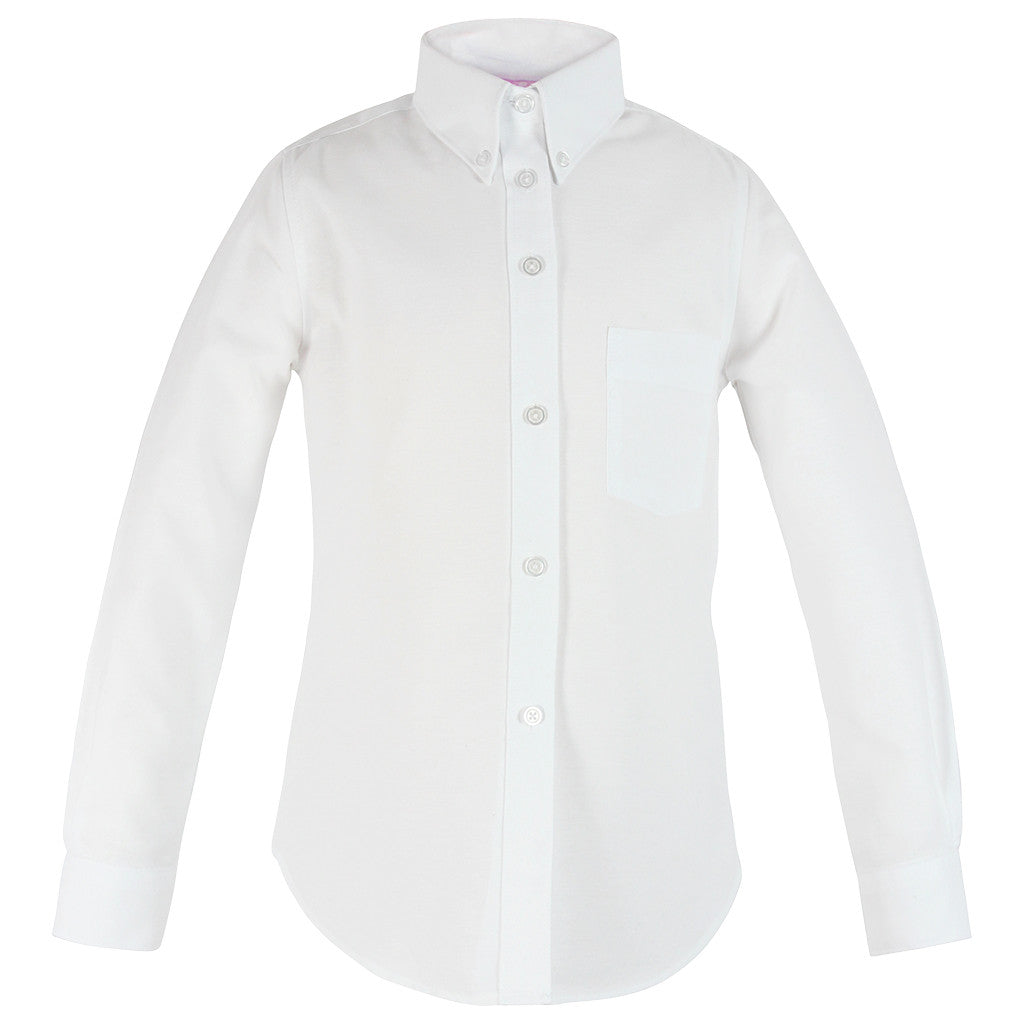 Girls White Oxford Blouse-Round Hem