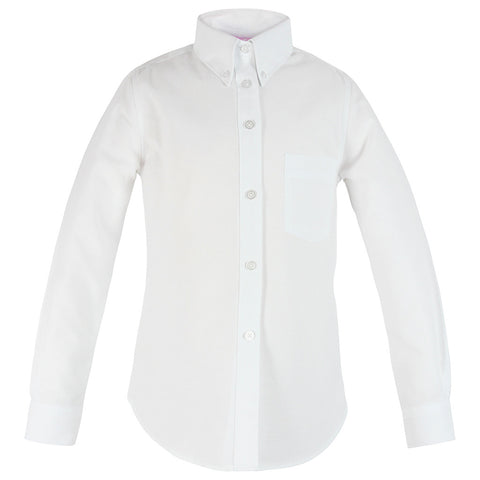 H.S. White Oxford Blouse-Round Hem