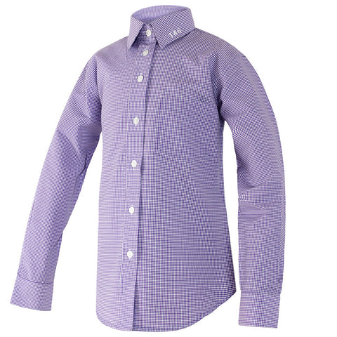 Girls Purple and White Gingham Blouse-Round Hem