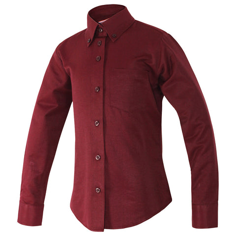 Girls Maroon Blouse-Round Hem