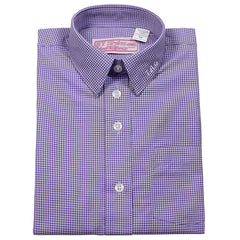 E.S. Purple and White Gingham Blouse-Round Hem