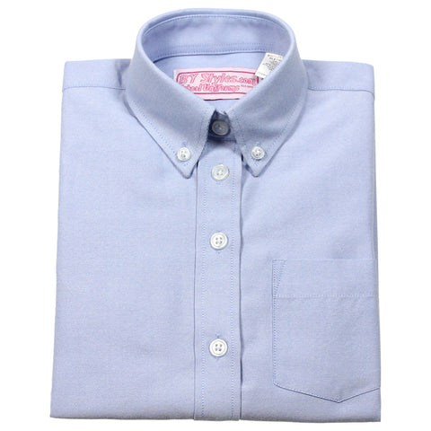 Girls Blue Oxford Blouse-Straight Hem