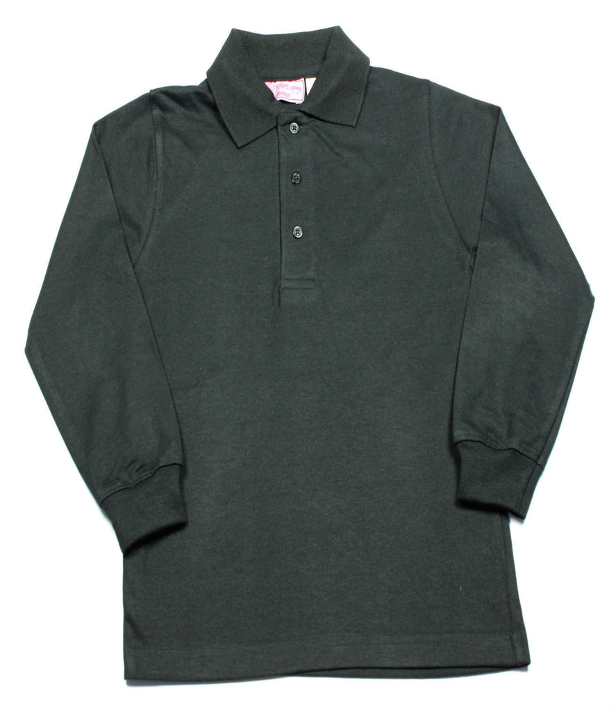 Black Jersey Knit Polo Shirt