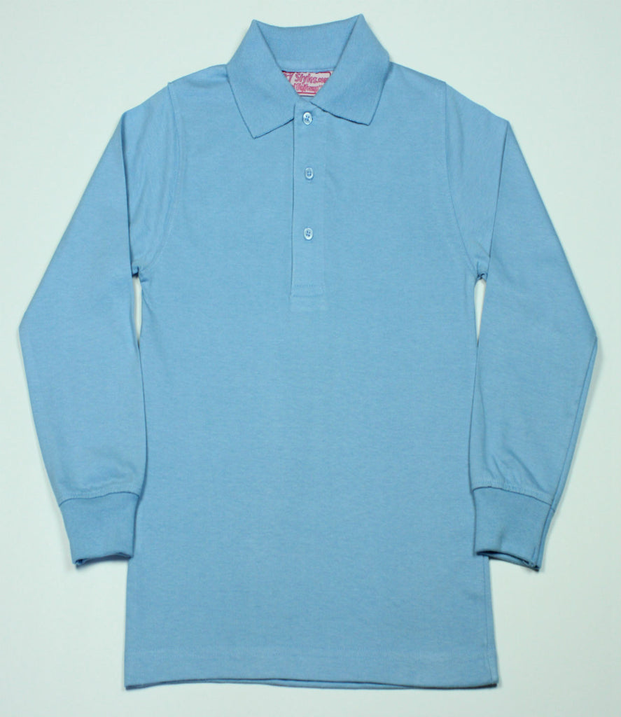 Light Blue Jersey Knit Polo Shirt