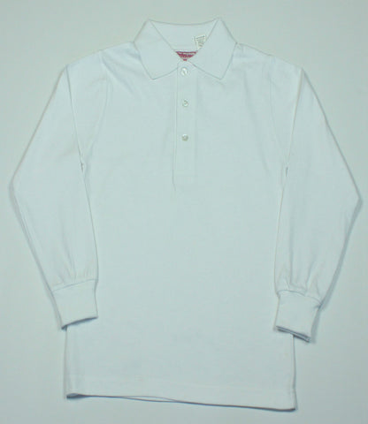 White Jersey Knit Polo Shirt