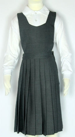Elastic Knife Pleated Skirt With V-Neck Top Jumper Grey