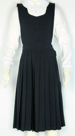 Elastic Knife Pleated Skirt With V-Neck Top Jumper Navy