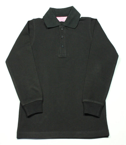 Black Pique Knit Polo Shirt