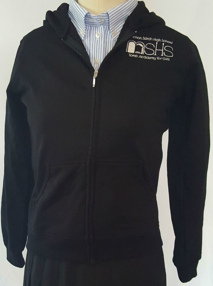 Black Cotton Hooded Sweatshirt High School With MSHS Logo