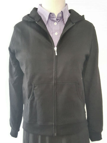 Ladies Black Cotton Hooded Sweatshirt