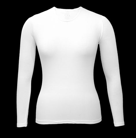 Girl's Shell, White-Long Sleeve