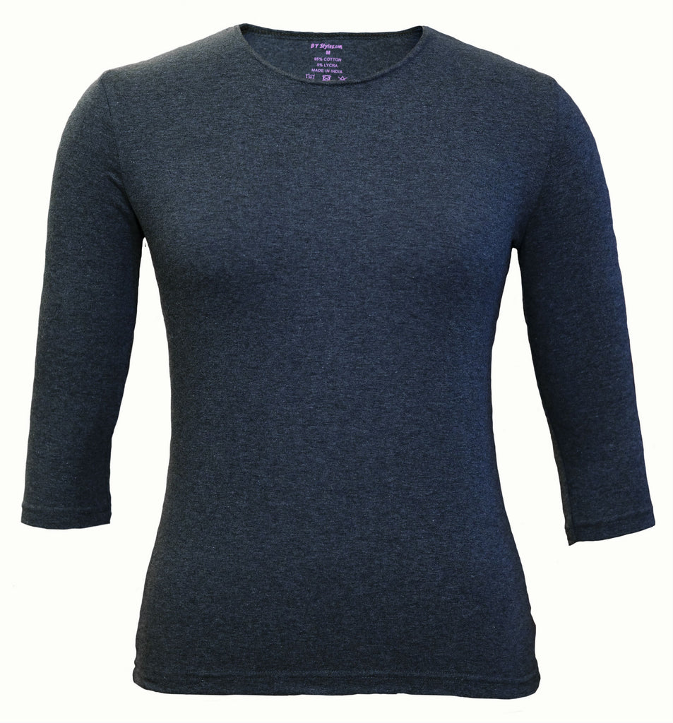 Women's Shell, Navy-3/4 Sleeve