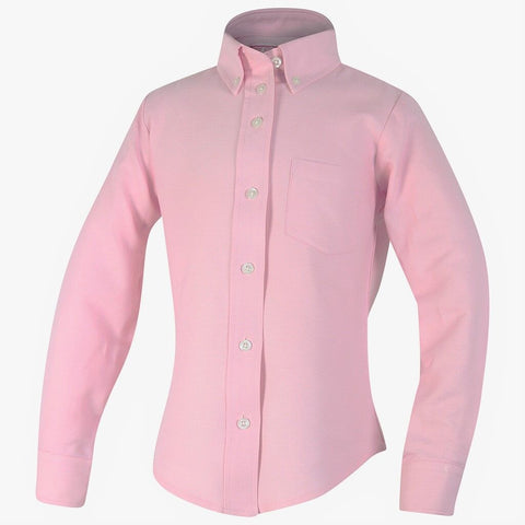 Girls Pink Oxford Blouse-Round Hem
